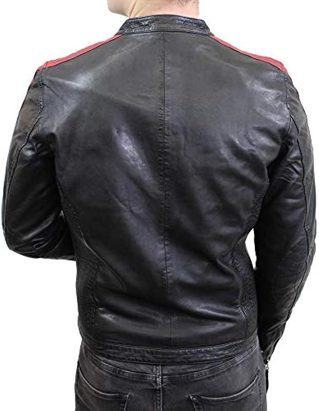 Kurtka skÓrzana Ricon – męska kurtka rowerowa z czerwonymi paskami z prawdziwej skÓry jagnięcej w kolorze czarnym: Odzież