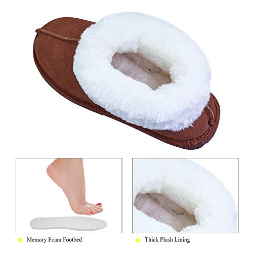 Plush Warm Women's House Indoor Brown On Slip Cowhide Lining Genuine Slippers VLLY 67IaWqOt6