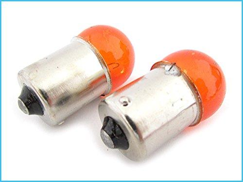 Blister 2 Lampade Sferica RY10W BAU15S 12V 10W Arancione Amber Per Luci Frecce Moto Piedi Storti
