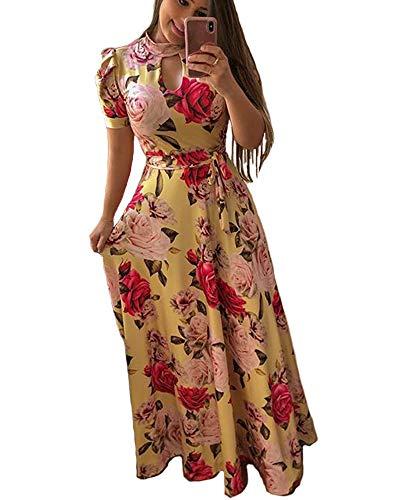 Aublary Women's Floral Maxi Dress Short Sleeve Faux Wrap Maxi Long Dresses with Removable Belt (Yellow, XL) (Best Pakistani Wedding Dresses 2019)