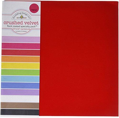 DOODLEBUG SPVP-3843 Specialty Cardstock, 12 by 12-Inch, Flocked Crushed Velvet, 12-Pack ()