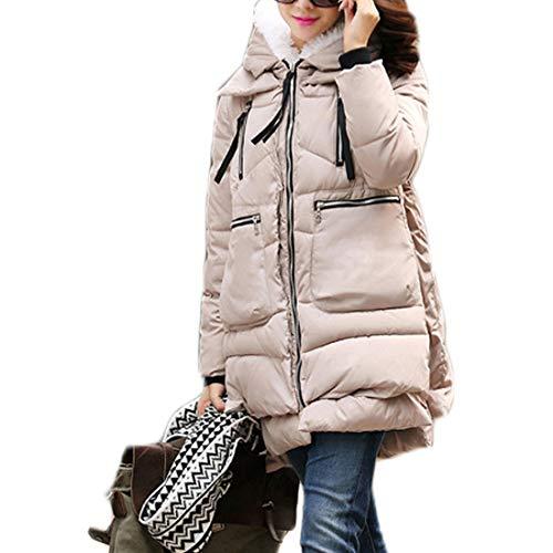 Lunga Abbigliamento Inverno Mantieni Ioshapo Femminile Cerniera Cappotto Beige Sciolto Caldo Manica Cappuccio dqgdIT5