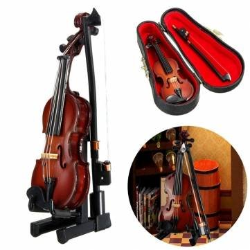 Diy Animal Control Costume (1/12 Violin Wooden Musical Instrument With Case&Holder Doll House Decor Accessories Gift by Completestore)