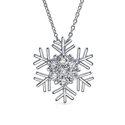 Bling Jewelry CZ Winter Holiday Snowflake Pendant Rhodium Plated Necklace 16 Inches - Rhodium Snowflake Pendant