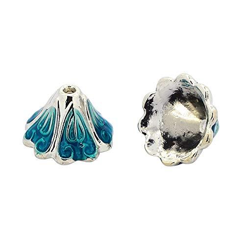 Arricraft 10pcs 5-Petal Antique Silver Tone Alloy Enamel Flower Bead Caps for Jewelry Making End Caps ()