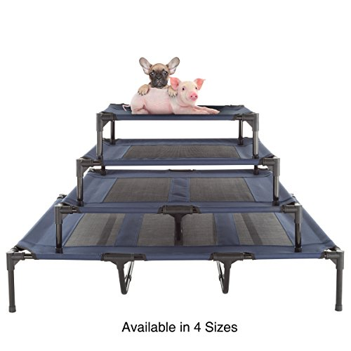 "PETMAKER Elevated Pet Bed-Portable Raised Cot-Style Bed W/Non-Slip Feet, 24.5""x 18.5""x 7"" for Dogs, Cats, and Small Pets-Indoor/Outdoor Use (Blue) by PETMAKER (Image #5)"