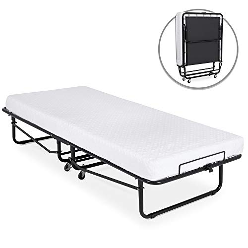 Best Choice Products Folding Rollaway Cot-Sized Mattress Guest Bed w/ 3in Memory Foam, Locking Wheels. Steel Frame, Black