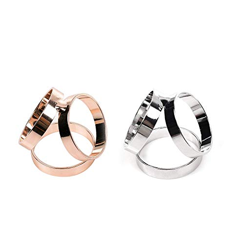 KLOUD City Pack of 2 Fashion Scarf Ring Buckle Scarf Clip Triple Slide Jewelry Shiny Clothing