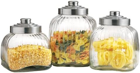Large Ribbed Glass Kitchen Canister Set 3 Pieces Kitchen Storage And Organization Product Sets