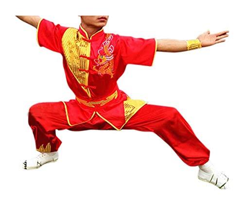 CRB Fashion Mens Boys Childrens Kids Kung Fu Master Tai Chi Dragon Chinese Uniform Outfit Costume Top Shirt Pants Set (Height 160cm, Red)
