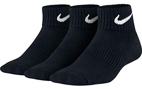 Nike Kids Unisex Cotton Cushion Quarter Length Socks 3-Pair Pack Small Black -
