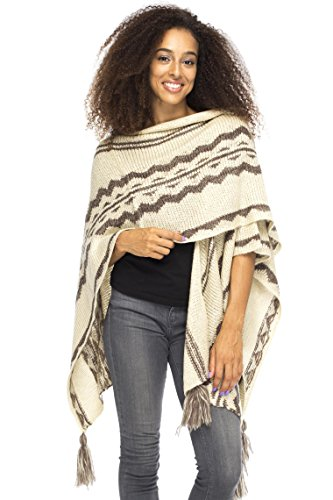 Wrap Clint Cream Taupe Back From Bali Womens Warm Ruana Shawl Blanket Scarf Boho Tribal Print - Knit Ruana Pattern