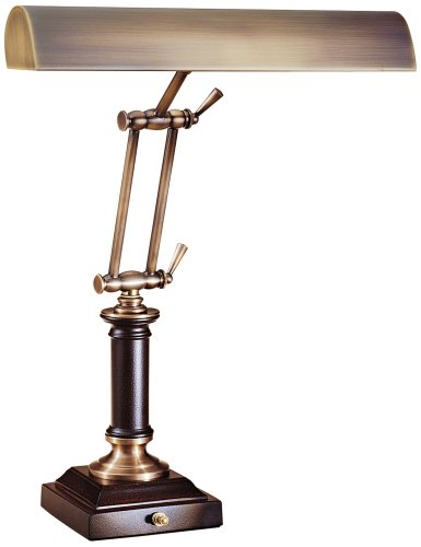 House of Troy P14-233-C71 16-1/2-Inch Portable Desk/Piano Lamp, Antique Brass and Chestnut Bronze Antique Brass Portable Table Lamp