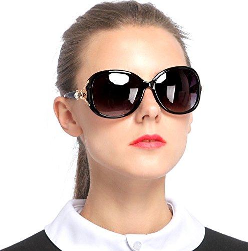 SIPLION Women's Shades Oversized Polarized Fox Sunglasses 100% UV Protection 7616 Black