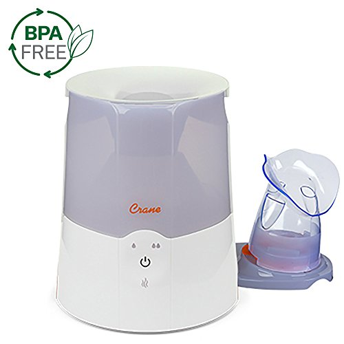 Crane 2 in 1 Personal Steam Inhaler & Warm Mist Humidifier, 0.5 Gallon, Filter Free, Whisper Quite, Germ Free Mist, for Home Bedroom and Office, White