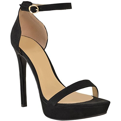 N Nuevo Thirsty Mujer Sexy Zapatos Fashion Sandalias Tac Plataforma Alta  Fiesta Ante Artificial Negro Baile ... f323969a459c