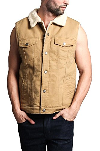 Classic Sherpa Faux Shearling Heavyweight Denim Work Vest - DK113 - Wheat - X-Large - T1G