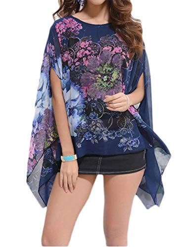 Nicetage Womens Dolman Blouse Off Shoulder Floral Tops HS166-8000 Dark Blue ()