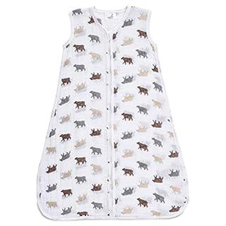 Aden by aden + anais Classic Sleeping Bag, 100% Cotton Muslin, Wearable Baby Blanket, Bear Necessities, Medium, 6-12 Months