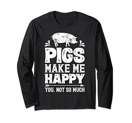 Unisex Pigs Make Me Happy T shirt Funny Pig Farm Farmer Gifts Tee Small (Farmer Pig)