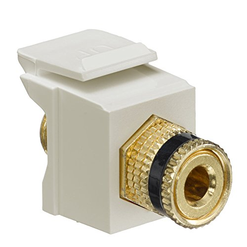 Quickport Binding Post - Leviton 40833-BIE QuickPort Binding Post Adapter with Black Stripe, Ivory