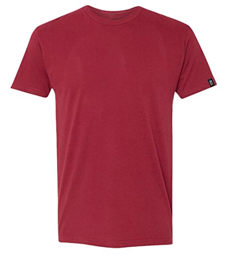 (EXIT 26 Men's Premium Ultra Soft Sueded Jersey Crewneck Plain and Heather T-Shirts Barn Red)