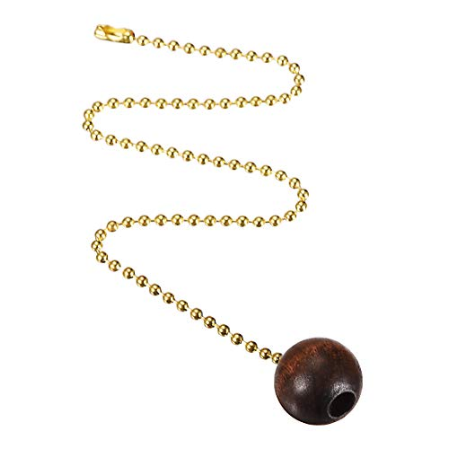 uxcell Wooden Ball Walnut Pendant 12 inch Brass Tone Pull Chain for Lighting Fans