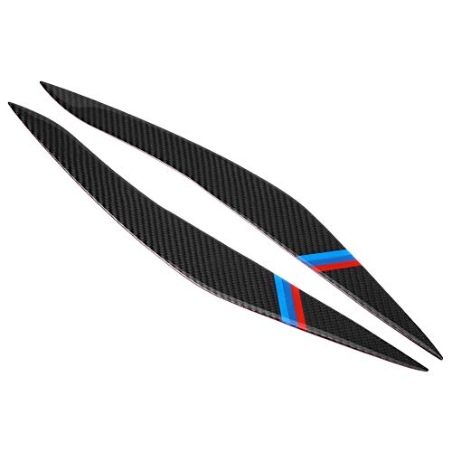 Headlight Eyebrow 2Pcs, Aramox Carbon Fiber Headlight Eyebrow Eyelid Cover for 5 Series F10 2010-2013(BMW style) ()