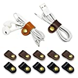 FIBOUND 10pcs Earphone Winder Leather Cable Straps,Apple Lightning Cable Ties Leather Cord Organizer,USB Cable Clips,Earphone Winder with Leather Handmade (10 in a Pack)