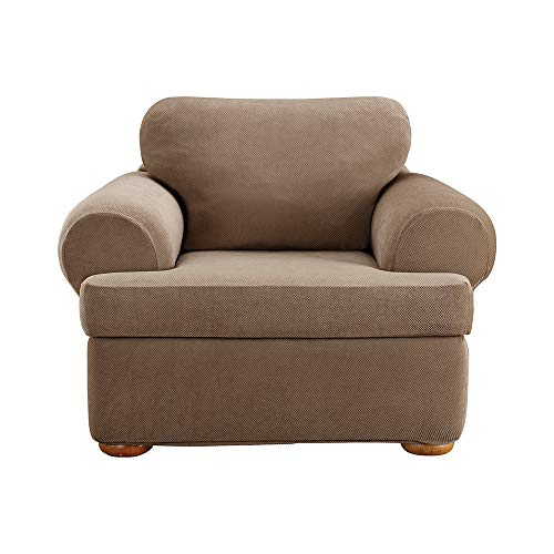 - SureFit Stretch Pique 3-Piece - Chair Slipcover - Taupe