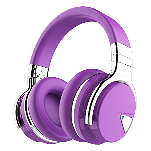 COWIN E7 Active Noise Cancelling Bluetooth Headphones with Microphone Deep Bass Wireless Headphones Over Ear, Comfortable Protein Earpads, 30H Playtime for Travel Work TV Computer Phone - Purple ()