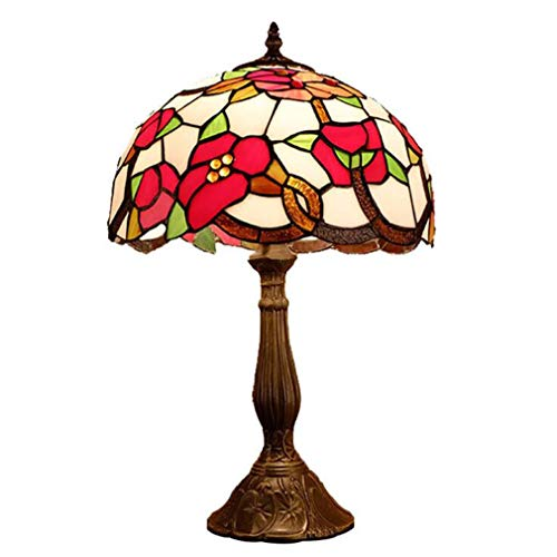 Tiffany Styled Table Lamps 12-Inch, Stained Glass Red Floral & Green Leaf Pattern Lampshade Desk Lamp for Living Room Dining Room Bedroom Bedside Lamp