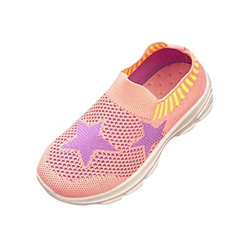 Manadlian Basses Maille Chaussures Filles Bébé Enfant Confort Respirant Baskets Baskets Sport Rayures Étoiles Garçons Sneaker Mixte De Rose Enfants pwxgYE7qY