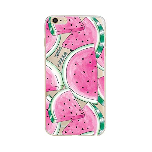 Girls Pink Watermelon iPhone 6 Case Green Sweet Water Melon 6S Cover Tropic Botanical Summer Fruit Heart Seed Vine Like Plant Themed Pattern Clear, ()