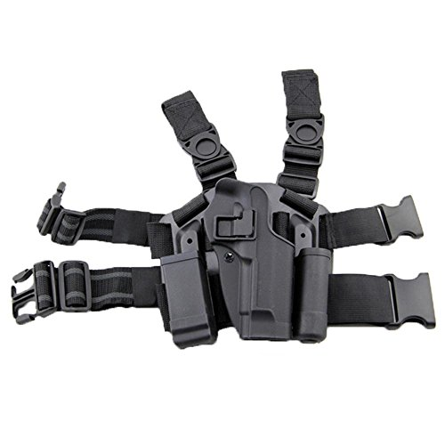 LIVIQILY Tactical Glock Leg Holster Right Hand Paddle Thigh Belt Drop Pistol Gun Holster w/Magazine Torch Pouch Glock 17 19 22 23 31 32 (Black)