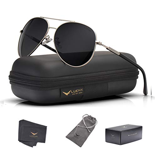 Mens Womens Sunglasses Aviator Polarized Black by LUENX, LightWeight Metal Frame,Large 60mm Lens,with Case,for Driving,Fishing,Outdoor,Travel