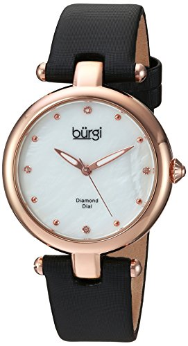 Burgi Women's Quartz Stainless Steel and Leather Casual Watch, Color:Black (Model: BUR169BK)