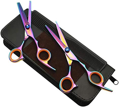 L.J.JZDY Hair Scissors Colored Hairdressing Scissors Kit Hair Cutting Stainless Steel Barber Comb Salon Hair Tools