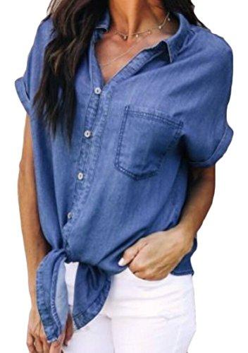 (Alion Women Sexy Button Down Short Sleeve Tie Knot Front Lapel Denim Blouse Tops Shirt Dark Blue L)