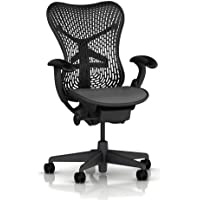 Mirra Chair by Herman Miller: Basic - Pneumatic Lift - Stationary Arms - Standard Tilt - Fixed Seat Depth - 2.5 Black Carpet/Hard Floor Casters - Graphite Frame/Graphite Seat