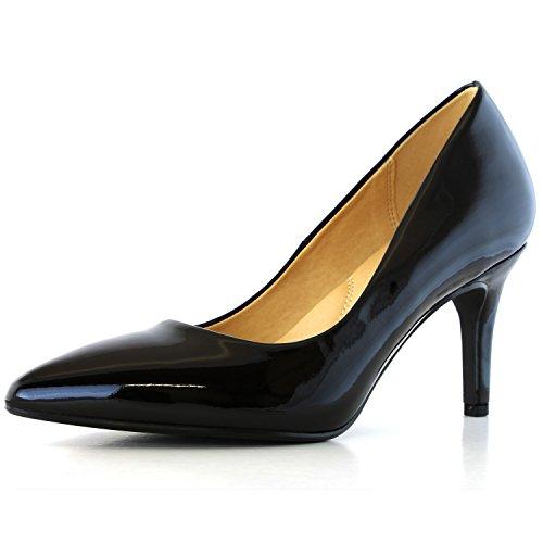 Pointy Toe Patent Heel Pump - 1