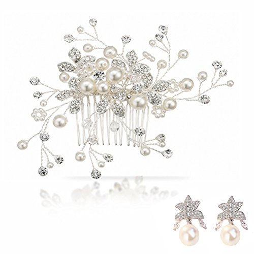 Freshwater Pearl Wedding Hair Comb - Alinay Bridal Headpiece and Earring Set with Crystal Accessories