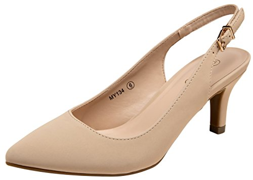 (VOSTEY Women Low Heel Dress Shoes Kitten Heel Slingback Pumps(8,Nude Nubuck))