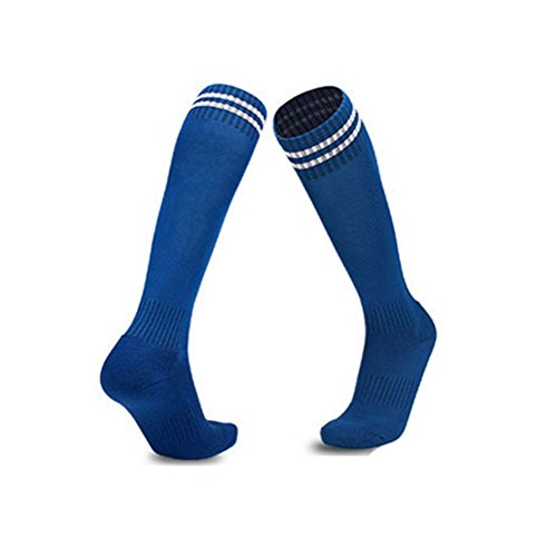 (Luwint Youth Children Cotton Socks - Extra Cushion Thick Long Soccer Socks (Blue and White))