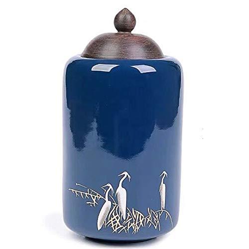 Funeral Urns Blue Wild Crane Keepsake Urn for Human or pet Ashes Hand-Carved Ceramics Sealed Cremation Urns -