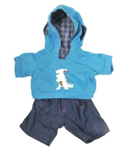 """Dinosaur"" Hoodie w/Jeans Teddy Bear Clothes Outfit Fits Most 14"" - 18"" Build-a-bear, Vermont Teddy Bears, and Make Your Own Stuffed Animals Teddy Mountain 2420"