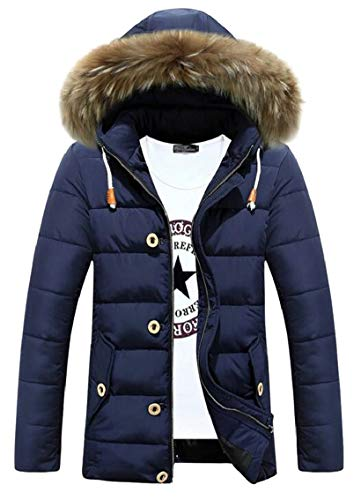 Men's Warm Faux Gocgt Hoodies Jacket Jacket Down Fur Thicken Winter Padded Blue TUxqSd