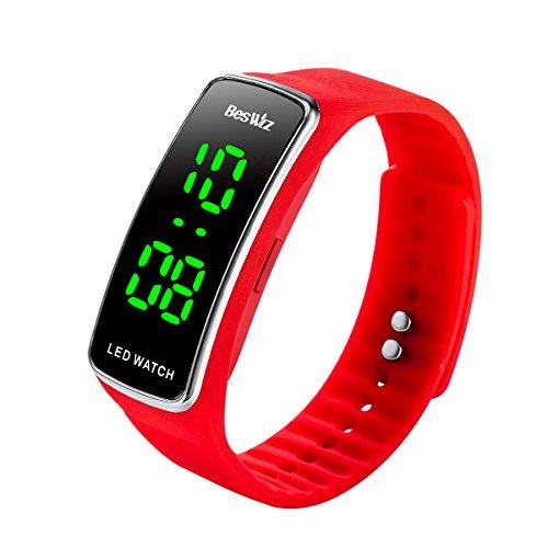 Unisex Digital Kids Digital Watches Waterproof Outdoor Sports LED Wristwatch for Boys Girls Kids Teenager Red