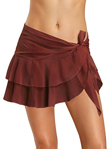 Dailybella Womens Chiffon Beach Cover up Sarong Multi Wear Ruffle Pareo Canga Swimsuit Wrap (for Size S & M, Reddish Brown)