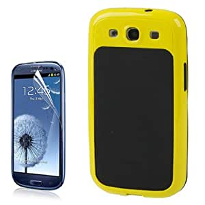 DapurMu - Combination Plastic + Black Silicone Case with High Permeability Screen Protector for Samsung Galaxy SIII / i9300 (Yellow)